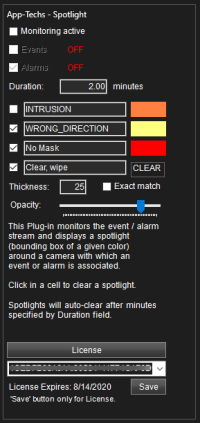 Spotlight plug-in Settings